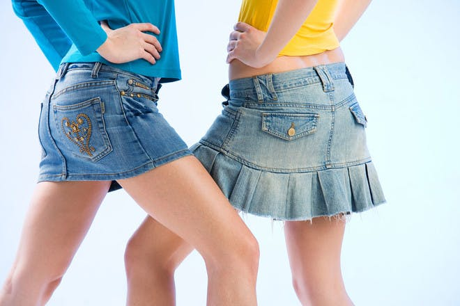 5. Wearing TINY denim skirts