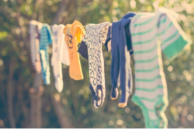 washing hanging on line outdoors