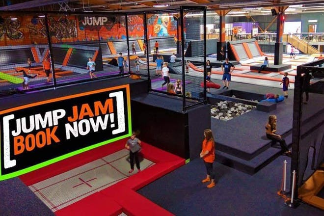 View from above of Jump Jam trampoline park