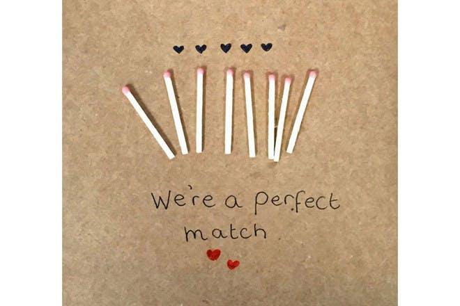 matchstick Valentine's Day card