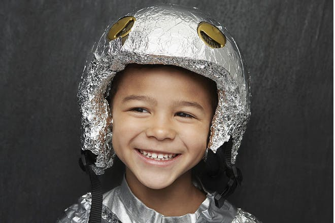 Girl in foil helmet