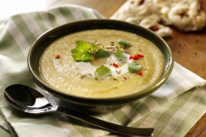 Spiced leek, potato and lentil soup