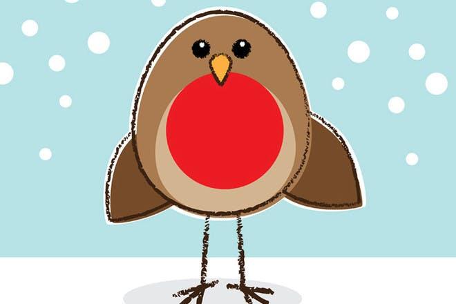 Cartoon Robin. 'Rockin Robin' - Christmas songs for kids