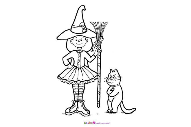 Halloween colouring page of witch with broomstick and cat