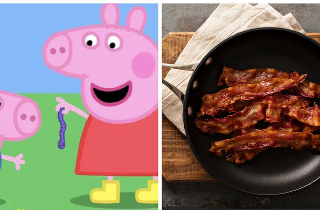 Right: Peppa Pig TV show; Left: Bacon
