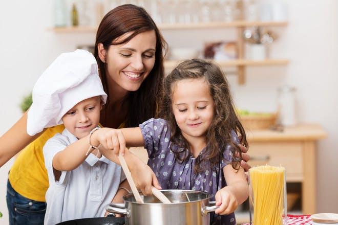 mum with children in kitchen