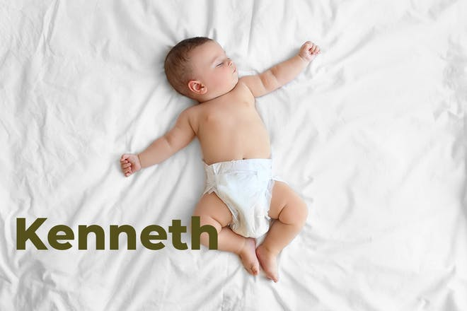 Baby sleeping and lying sprawled out on bed. Name Kenneth written in text