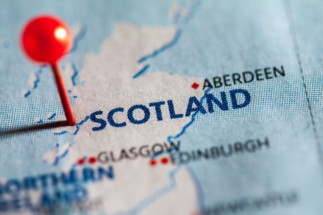 Pin in a map of Scotland