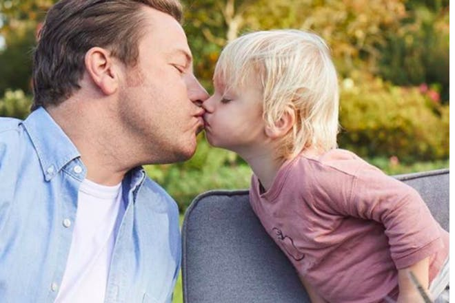 Jamie Oliver kissing son