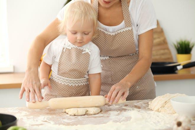 Mum and toddler baking