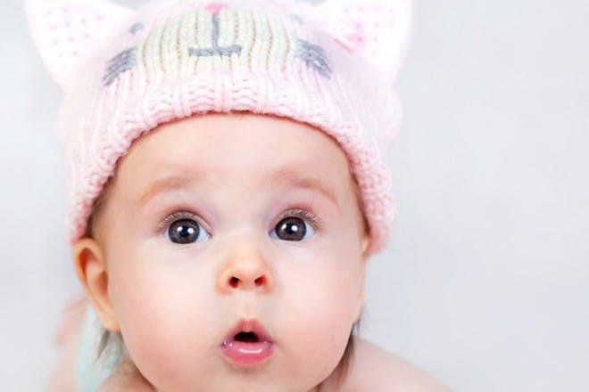 surprised looking baby