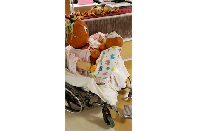 Breastfeeding pumpkin display