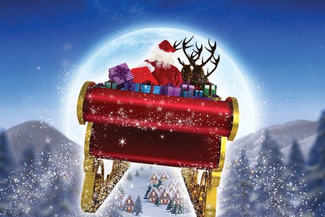santa sleigh flying