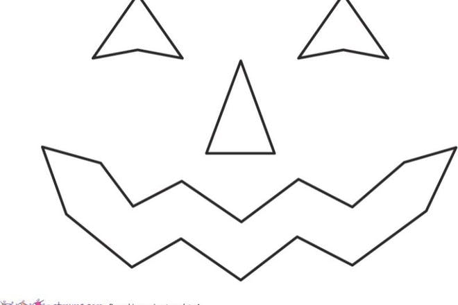 Halloween colouring page pumpkin carving template