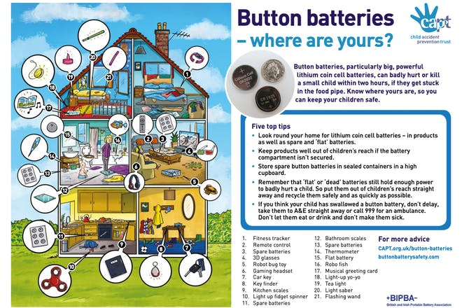 Image of house and text about button batteries