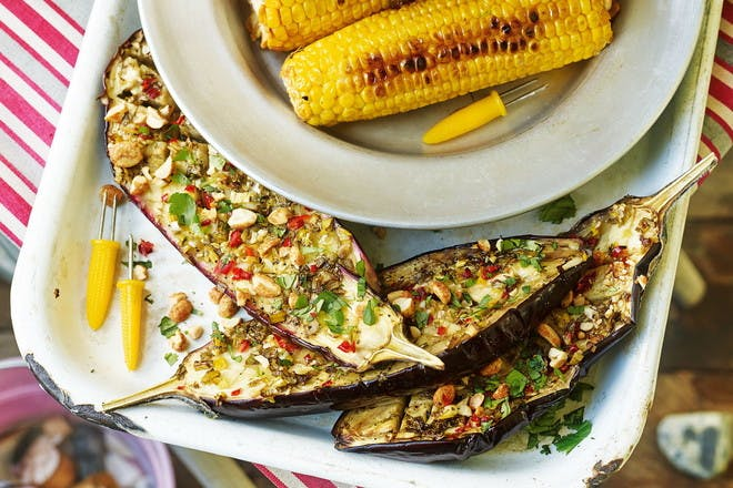 27. Lime and chilli aubergines with peanuts