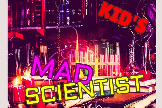 Colourful science laboratory, text says 'Kid's Mad Scvientist'