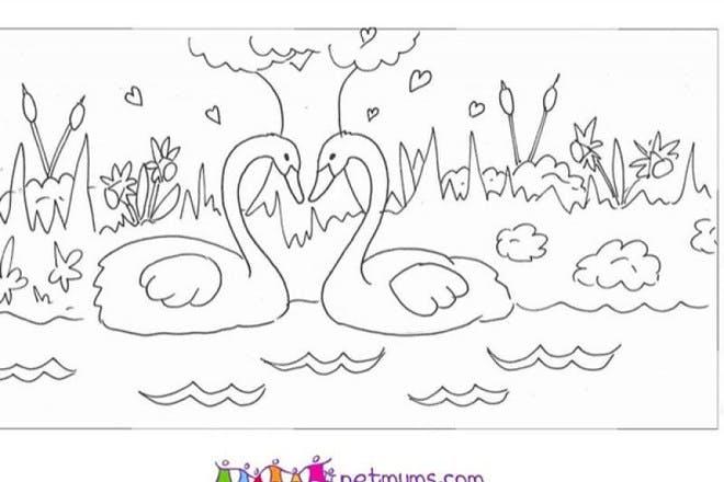 Swans in love Valentine's card