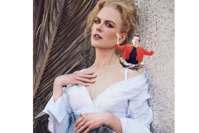 Nicole Kidman with Mick Jagger photoshopped on her shoulder