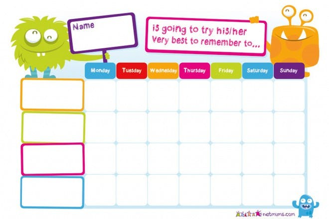 monsters try to remember 4 weeks reward chart