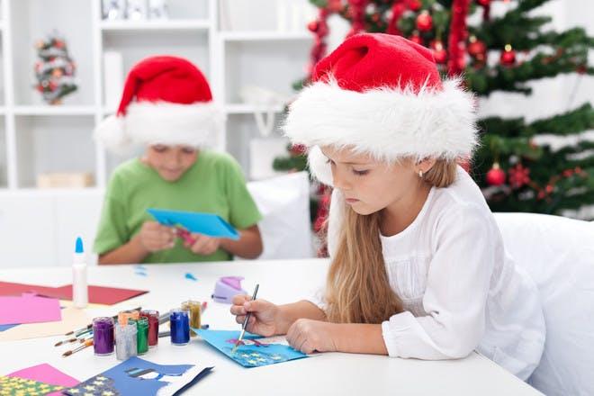 children making christmas cards