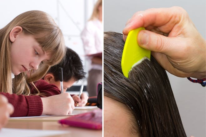 Left: Girl holding penRight: Comb in hair