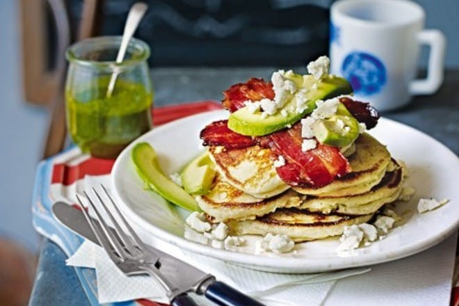 17. Buttermilk pancakes with bacon and avocado