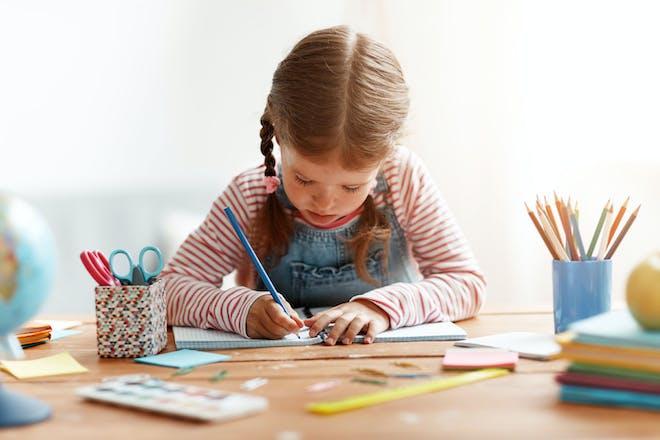 Child writing story