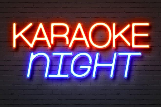 neon sign reading karaoke night