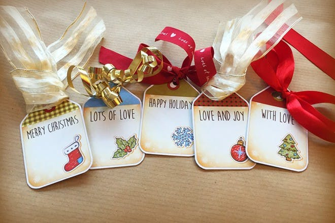colourful gift tags