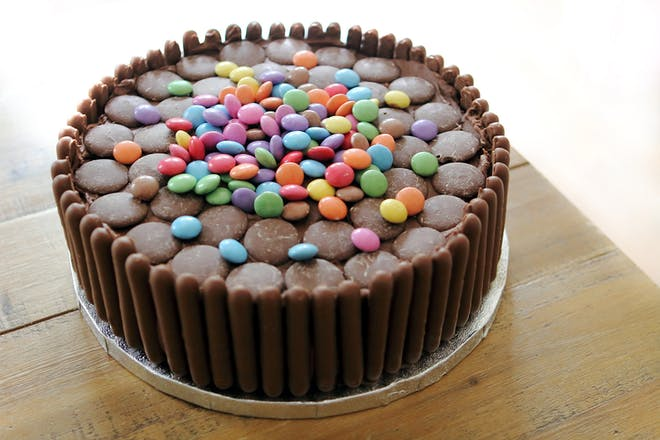 Chocolate finger smartie cake