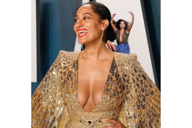 Tracee Ellis Ross with Diana Ross photoshopped on her shoulder
