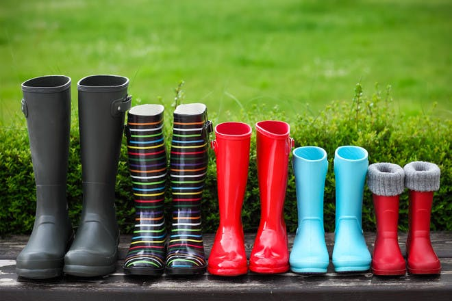 family's wellies in a row