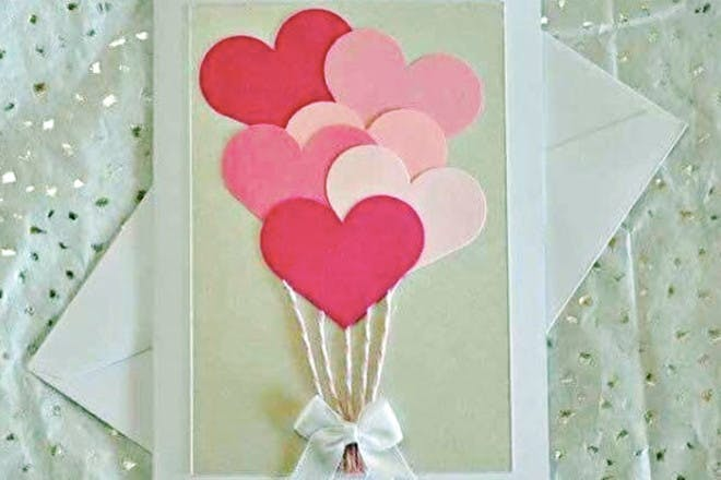Mother's Day card with heart balloons