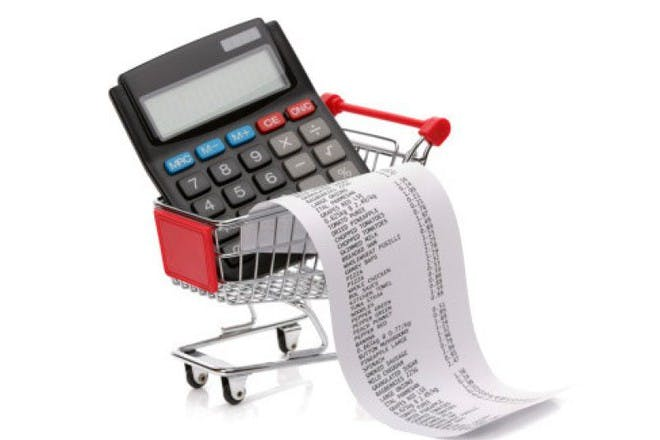 calculator and receipt in trolley
