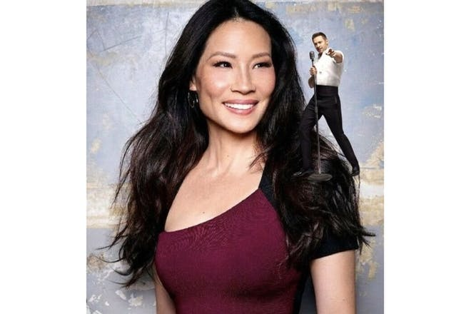 Lucy Liu with Hugh Jackman photoshopped on her shoulder