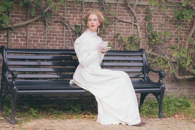 Lady sitting on bench
