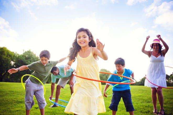 Children hula hooping