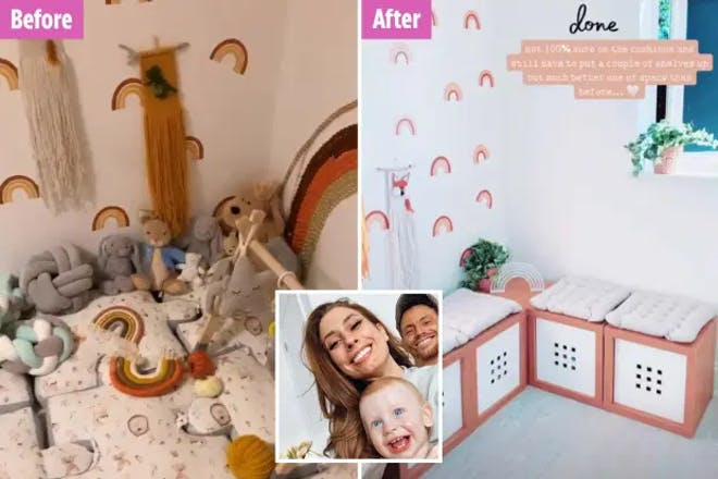 Stacey Solomon's nursery before and after