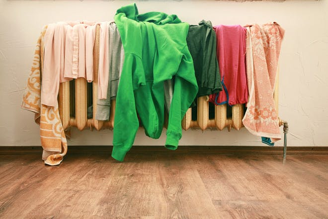 Clothes drying on radiator