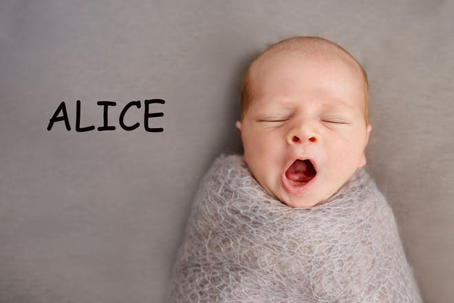 A baby sleeping with the name 'Alice' written in text