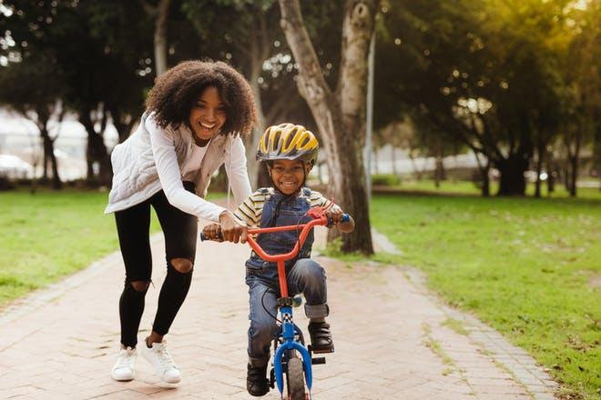 Mother and son riding bike