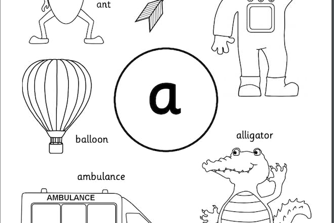 Colouring in page featuring the letter a and images beginning with that letter