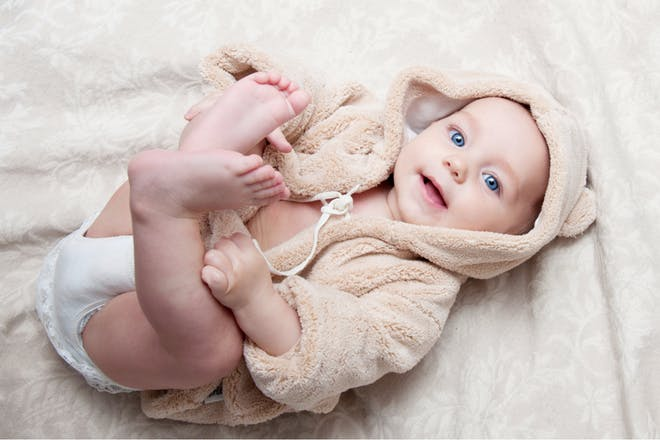 Baby lying on a blanket