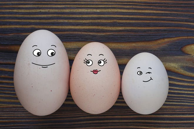 Eggs with painted faces