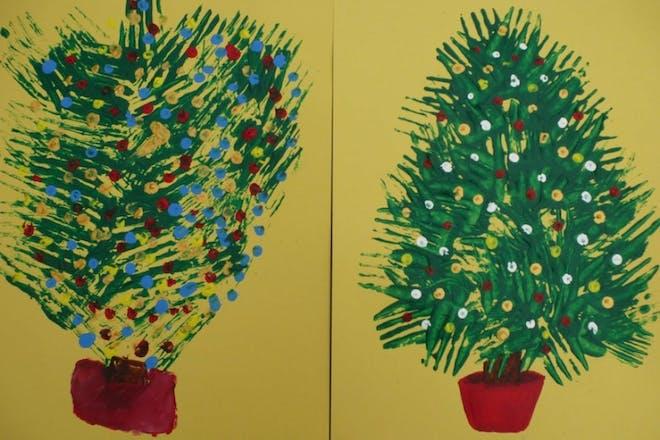 Fork print Christmas trees
