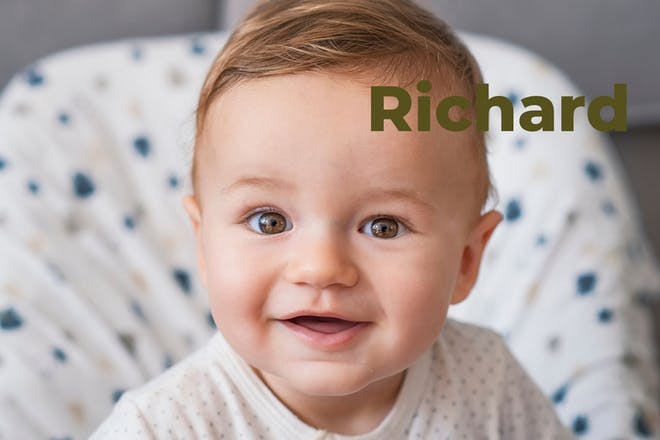 Baby in high chair. Name Richard written in text