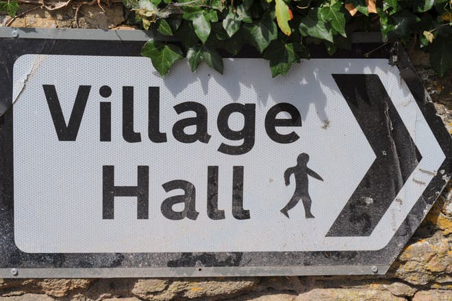 English village hall sign