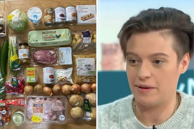 Left: foodRight: Woman