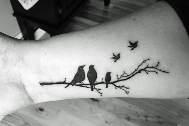 Roosting birds miscarriage tattoo